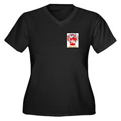 Caprino Women's Plus Size V-Neck Dark T-Shirt