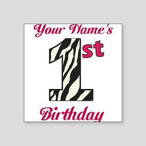 1st Birthday Zebra - Personalized! Sticker