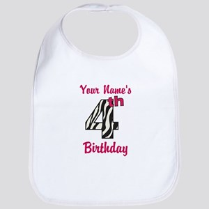 4th Birthday Zebra - Personalized! Bib