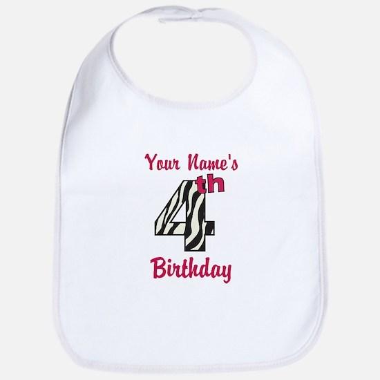 4th Birthday Zebra - Personalized! Bib