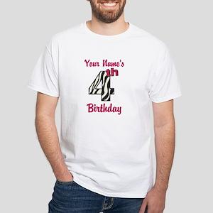 4th Birthday Zebra - Personalized! T-Shirt