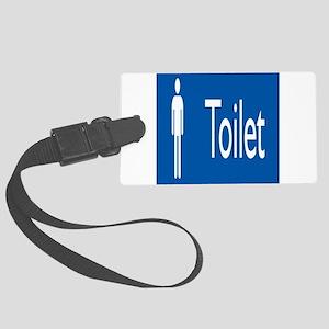 toilet,man,blue Large Luggage Tag