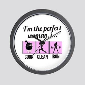 cook, clean, iron Wall Clock
