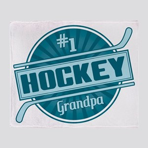 #1 Hockey Grandpa Throw Blanket