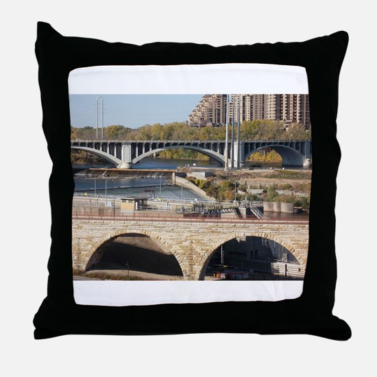 Minneapolis Mississippi Bridges Throw Pillow