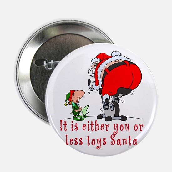 SANTA WORKING OUT Button