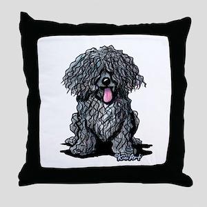 Black Puli Throw Pillow