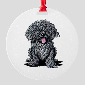 Black Puli Round Ornament