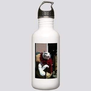 White Tiger with a Feather Boa Water Bottle