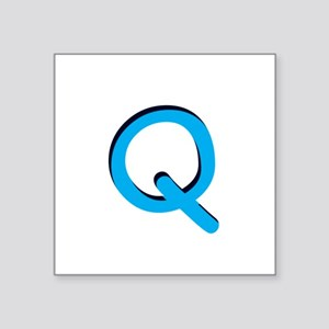"q-tile-blue Square Sticker 3"" x 3"""