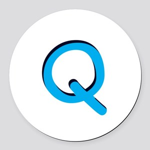 q-tile-blue Round Car Magnet
