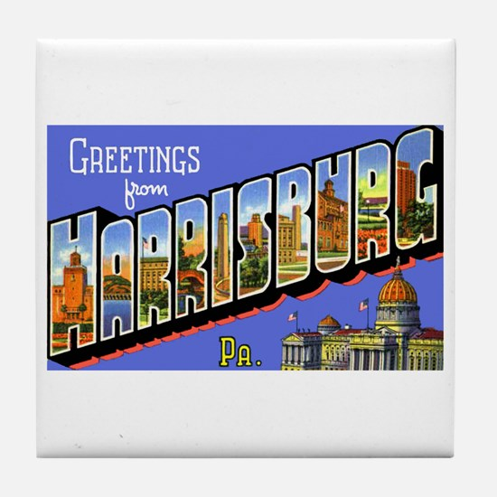 Harrisburg Pennsylvania Greetings Tile Coaster
