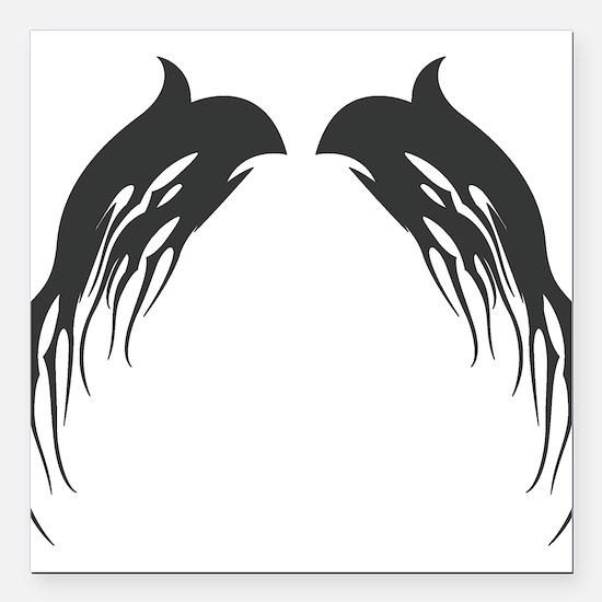 "tribal-wings,black.png Square Car Magnet 3"" x 3"""