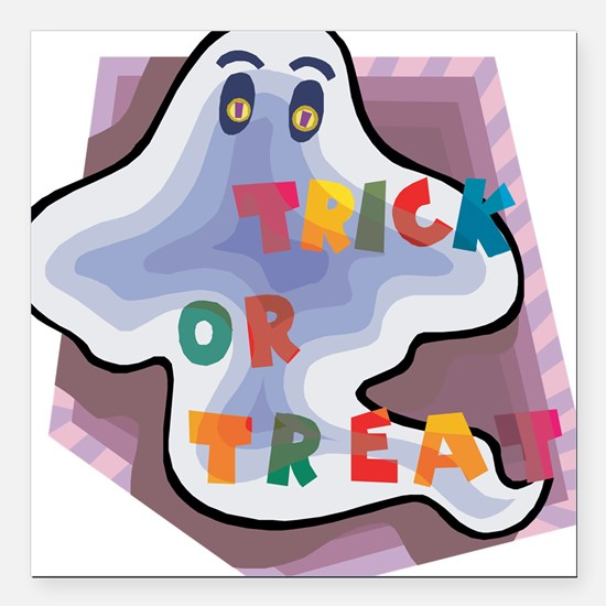 """ghost,trick-or-treat.png Square Car Magnet 3"""" x 3"""""""
