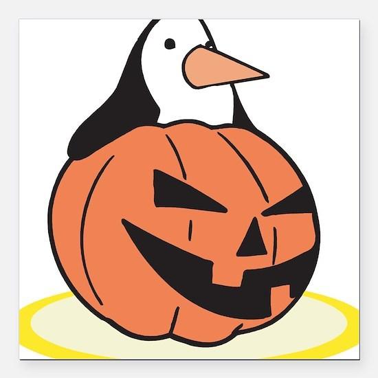 "pumpkin,penguin.png Square Car Magnet 3"" x 3"""