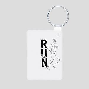 RUN Man Aluminum Photo Keychain