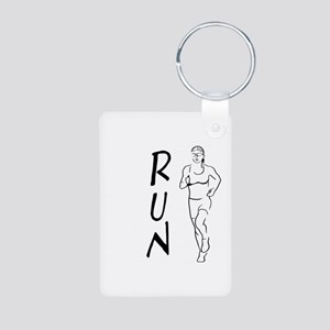 RUN Woman Aluminum Photo Keychain