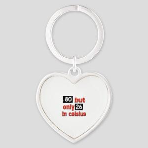 80 year old designs Heart Keychain