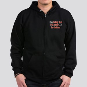 90 year old designs Zip Hoodie (dark)