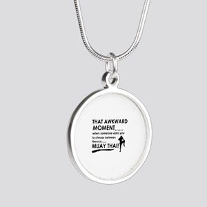 Cool Muay Thai designs Silver Round Necklace