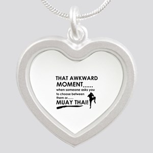 Cool Muay Thai designs Silver Heart Necklace