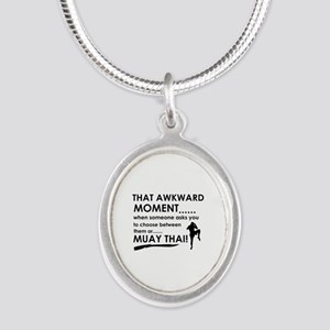 Cool Muay Thai designs Silver Oval Necklace