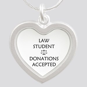 Law Student - Donations Accepted Silver Heart Neck