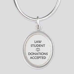 Law Student - Donations Accepted Silver Oval Neckl