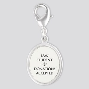 Law Student - Donations Accepted Silver Oval Charm