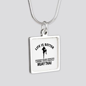Muay Thai Vector designs Silver Square Necklace
