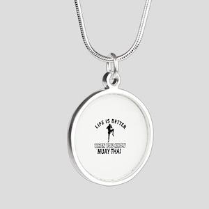 Muay Thai Vector designs Silver Round Necklace