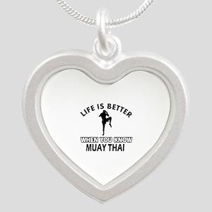 Muay Thai Vector designs Silver Heart Necklace