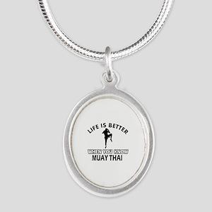 Muay Thai Vector designs Silver Oval Necklace