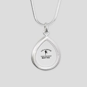 Muay Thai Vector designs Silver Teardrop Necklace