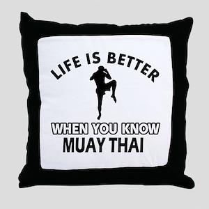 Muay Thai Vector designs Throw Pillow