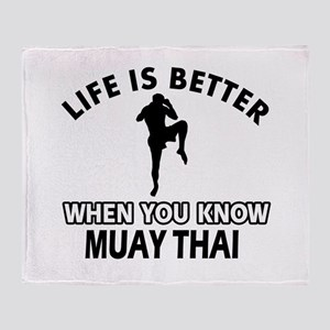Muay Thai Vector designs Throw Blanket