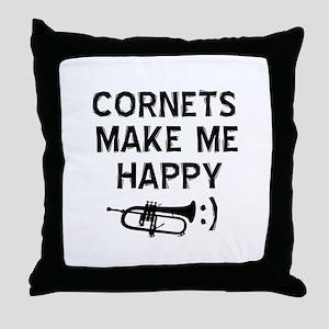 Cornets musical instrument designs Throw Pillow