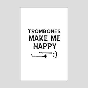 Trombones musical instrument designs Mini Poster P