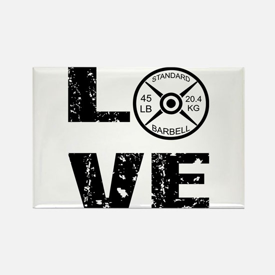 Love Lifting Weights Rectangle Magnet