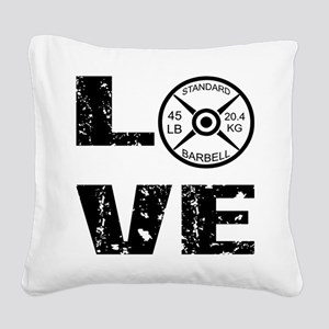 Love Lifting Weights Square Canvas Pillow