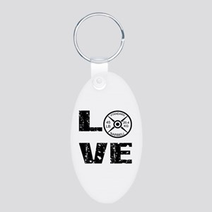 Love Lifting Weights Aluminum Oval Keychain