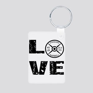 Love Lifting Weights Aluminum Photo Keychain