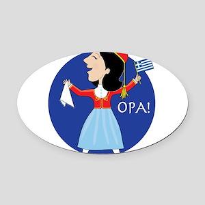 Greek Lady Dancing Oval Car Magnet