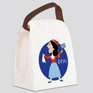 Greek Lady Dancing Canvas Lunch Bag