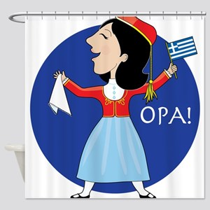 Greek Lady Dancing Shower Curtain