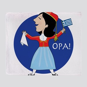 Greek Lady Dancing Throw Blanket