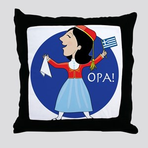 Greek Lady Dancing Throw Pillow