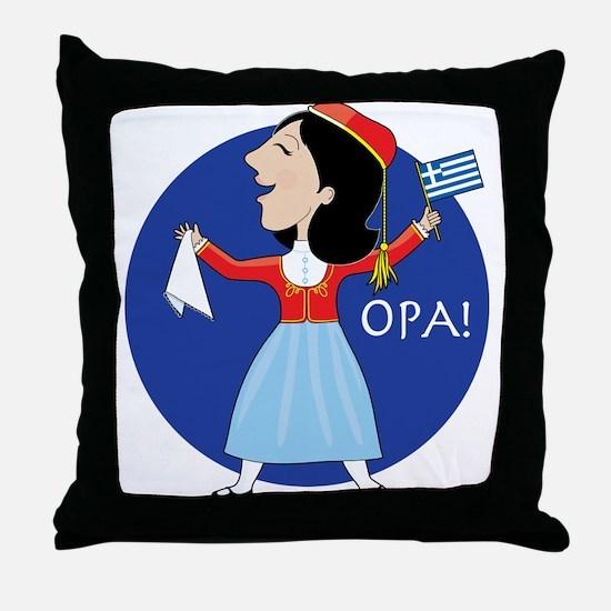 Greek Lady Dancing Throw Pillow