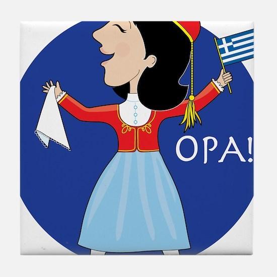 Greek Lady Dancing Tile Coaster