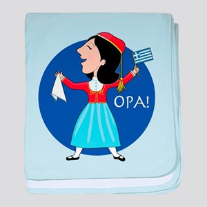Greek Lady Dancing baby blanket